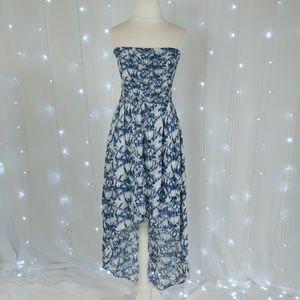 Michael Michael Kors Blue Strapless Hi-Low Dress